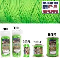 TOUGH-GRID 550lb Paracord/Parachute Cord - 100% Nylon Genuine Mil-Spec Type III Paracord Used by The US Military - (MIL-C-5040-H) - Made in The USA. 100Ft.