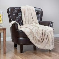 Chanasya Fuzzy Faux Feather Fur Throw Blanket - Reversible Soft Elegant Ruffle Front and Micro Mink Back Chick Blanket for Bed Couch Room (50x65 Inches) Tan Beige
