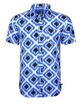Screenshotbrand Mens Hip-Hop Premium Woven Shirt - Retro Print Button-Down Collar Shirt