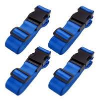 TRIWONDER Luggage Strap Adjustable Suitcase Straps Travel Belt Accessories 4 Pack, 5.9ft (Blue - 25mm)