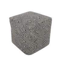 REDEARTH UNSTUFFED Square Storage Pouf Cover - Printed Ottoman Poof Pouffe Accent Chair Cube Seat Footrest for Living Room,Bedroom,Nursery, Kidsroom, Patio; 100% Cotton (20x20x20; Carbon Black)
