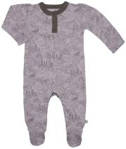 Finn + Emma Organic Cotton Footie for Baby Boy or Girl – Woodland, 6-9 Months