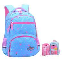 Girls Backpacks for Elementary, Polk Dots School Bag for Kids Primary Bookbags (Girls Backpacks for Elementary Sky Blue, Small for Grade 1-3)