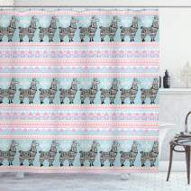 "Ambesonne Llama Shower Curtain, Horizontal Borders with Patterned Alpaca Animal and Folkloric Ornaments, Cloth Fabric Bathroom Decor Set with Hooks, 84"" Long Extra, Seafoam Pink"