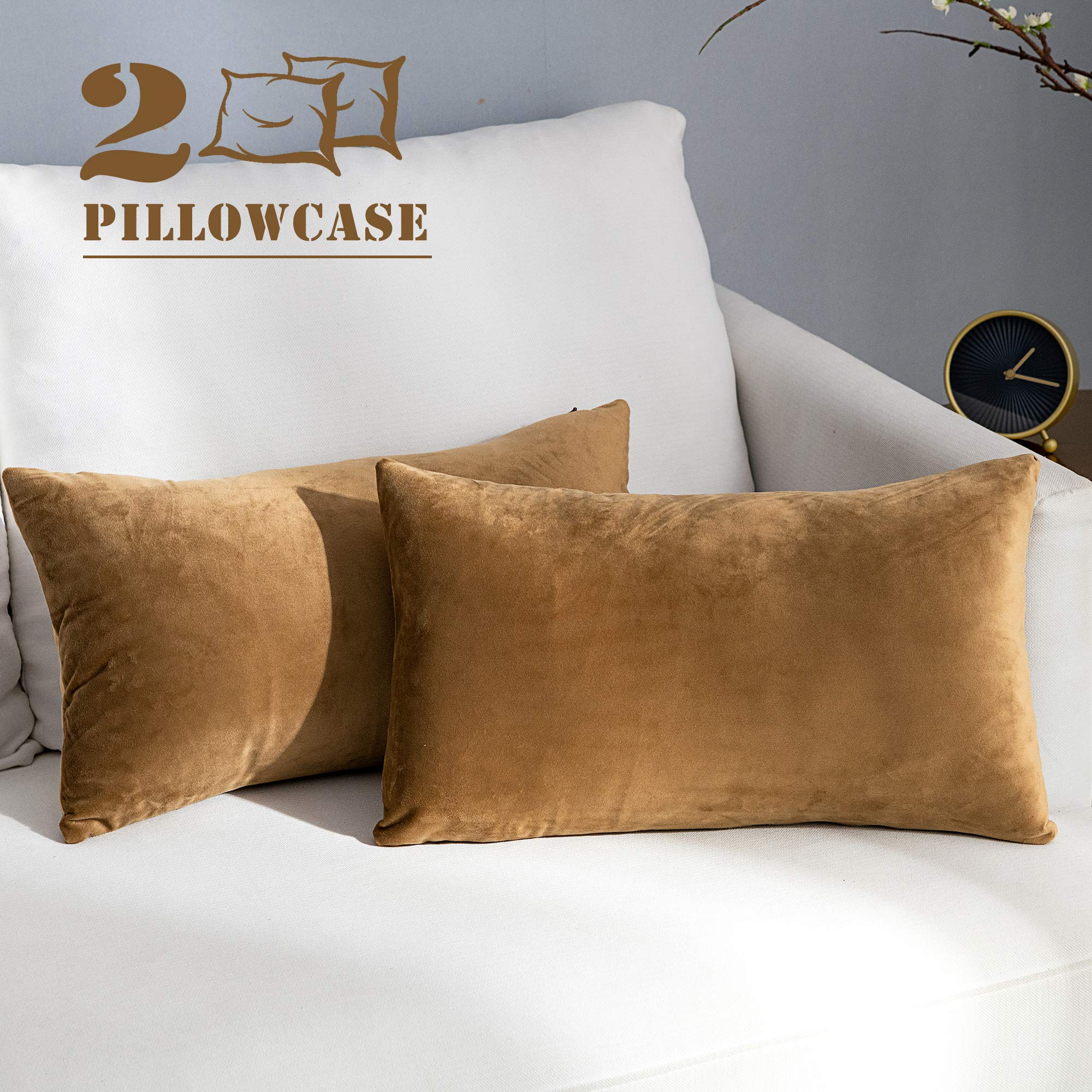 NANPIPER Set of 2 Velvet Soft Decorative Cushion Throw Pillow Covers 12x20 Inch/30x50 cm Cozy Solid Velvet Square Pillowcase Cushion Covers Khaki for Couch and Bed