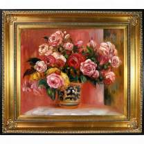 "La Pastiche Roses in a Vase, 1914 with Regency Gold Framed Oil Painting, 32.5"" x 28.5"", Multi-Color"