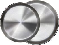"Immokaz Matte Polished 12.0 inch 304 Stainless Steel Round Plates Dish, for Dinner Plate, Camping Outdoor Plate, Baby safe, Toddler, Kids, BPA Free (1-Pack) (L (12.0""))"