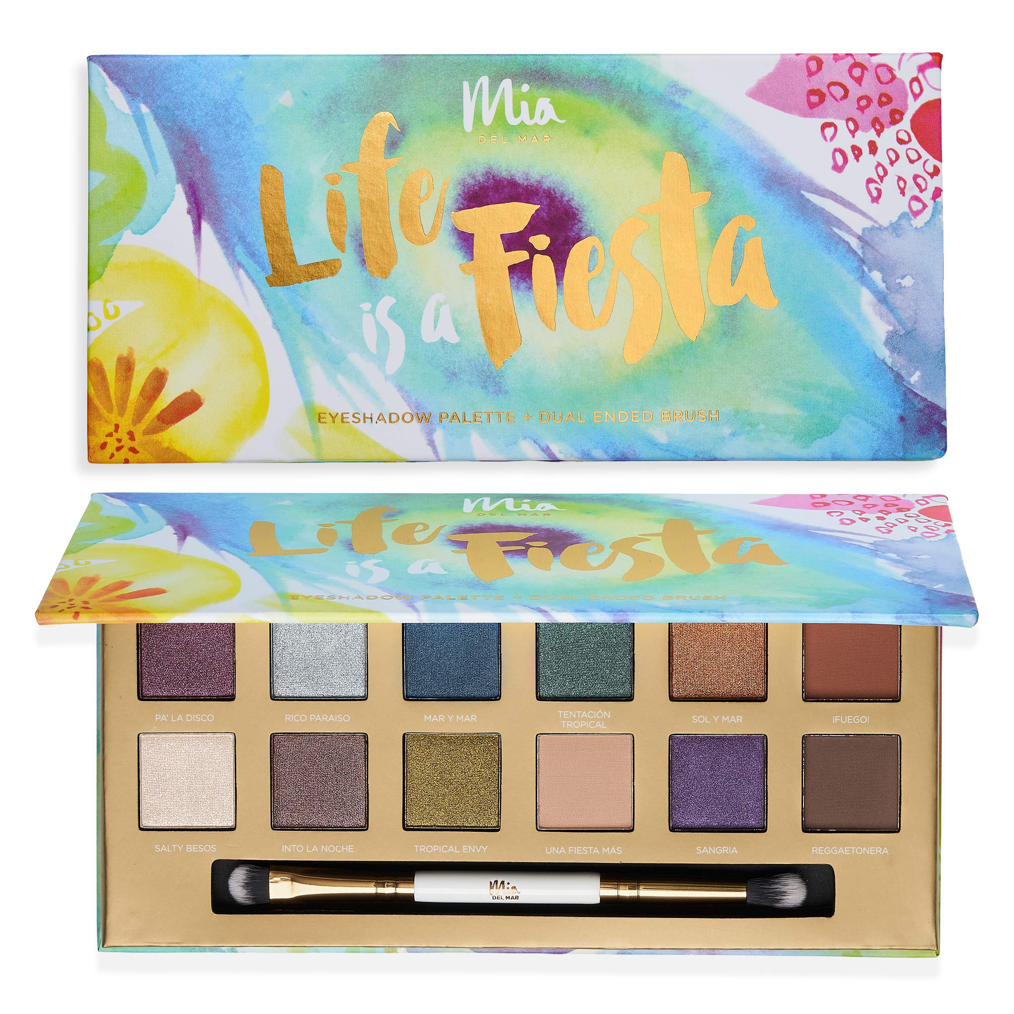 Mia del Mar 'Life Is A Fiesta' Eyeshadow Palette + Dual Ended Brush - 12 Bold and Versatile Tones: Shimmery & Matte Hues. Vegan And Clean Skin Care.