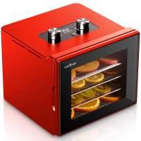 NutriChef NCDH4S.5 Electric Countertop Food Dehydrator Machine-350-Watt Premium Multi Tier Meat Beef Jerky Maker Fruit/Vegetable Dryer w/ 4 Stainless Steel Trays, Digital Timer, Temperature Control