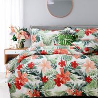 FADFAY Bad in a Beg Set 7-Pieces Shabby Tropical Red Hibiscus Palm Leaves Bedding Set 100% Soft Cotton Hypoallergenic,(1 Duvet Cover+1 Fitted Sheet+1 Flat Sheet+4 Pillow Shams),Queen Size