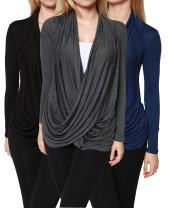 Free to Live 3 Pack Women's Lightweight Long Sleeve Criss Cross Pullover Nursing Tops