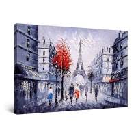 """Startonight Canvas Wall Art Abstract - Red Paris Urban Painting - Large Artwork Print for Living Room 32"""" x 48"""""""