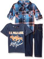 U.S. Polo Assn. Baby Boy's Long Sleeve Shirt, T-Shirt and Pant Set Pants