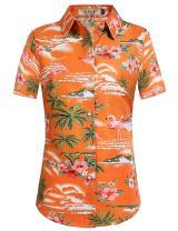 SSLR Womens Flamingo Shirt Casual Short Sleeve Hawaiian Shirts for Women