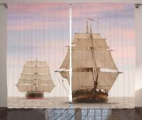 Ambesonne Ocean Curtains, Sailboat Gaff Top Sail Tall Wooden Sailing Ships Waves Art Print Photo, Living Room Bedroom Window Drapes 2 Panel Set, 108 W X 63 L Inches, Cream Blue