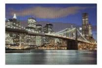 New York City, NY - Skyline & Brooklyn Bridge at Night 9002473 (19x27 Premium 1000 Piece Jigsaw Puzzle, Made in USA!)