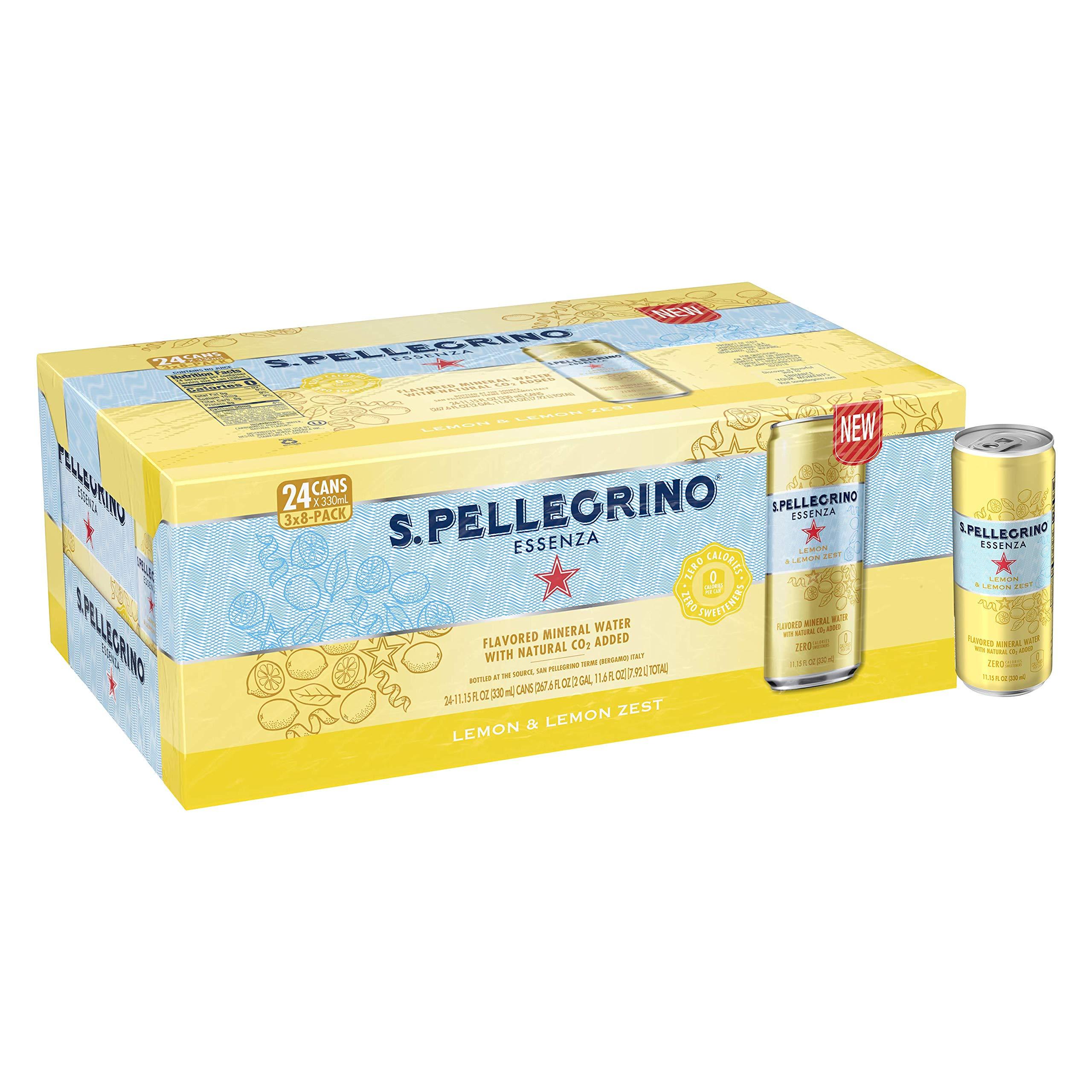 S.Pellegrino Essenza Lemon & Lemon Zest Flavored Mineral Water Cans, 11.15 Fl Oz (24 Pack)