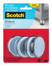 Scotch Reusable Sliders, Gray/Black, 2-3/8 in. Diameter, 4 Sliders/Pack (SP646-NA)