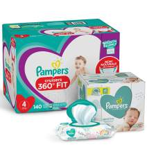 Pampers Pull On Diapers Size 4 and Baby Wipes - Cruisers 360° Fit Disposable Baby Diapers with Stretchy Waistband, 140 Count ONE MONTH SUPPLY with Baby Wipes Sensitive 6X Pop-Top Packs, 336 Count