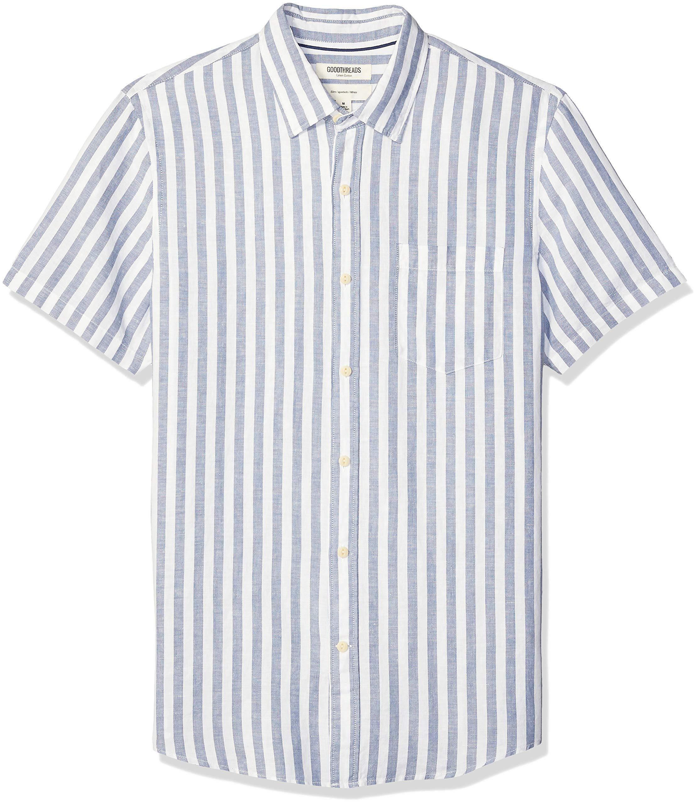Amazon Brand - Goodthreads Men's Slim-Fit Short-Sleeve Linen and Cotton Blend Shirt