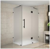 """Aston Avalux 34"""" x 34"""" x 72"""" Completely Frameless Hinged Shower Enclosure in Frosted Glass, Oil Rubbed Bronze"""