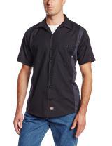 Dickies Occupational Workwear LS524BKCH Polyester/Cotton Men's Short Sleeve Industrial Color Block Shirt, Black/Dark Charcoal