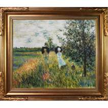 overstockArt Monet Walking Near Argenteuil Painting with Florentine Gold Finish Frame