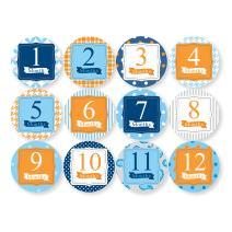 New Child to Cherish Baby Monthly Milestone Stickers, Blue