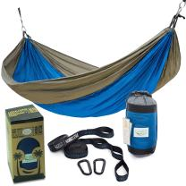 Rip Resistant Single Parachute Camping Hammock with 2 Multi Loops Tree Straps Included. Ultralight Nylon. Portable & Compact. Best for Hiking, Backpacking, Trek & Travel. Special Compression Bag