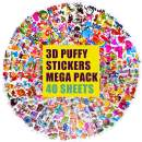 3D Kids Stickers 1200+ Puffy Stickers for Kids Bulk Stickers for Girl Boy Birthday Gift, Scrapbooking, Teachers, Toddlers, Including Animals, Stars, Fishes, Hearts and More (40 Different Sheets)