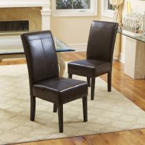 Christopher Knight Home Emilia Chocolate Brown Leather Dining Chairs (Set of 2)