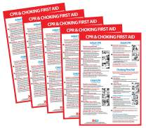 CPR and Choking Poster - Choking Poster for Restaurant - Choking First Aid Poster - CPR Instructions - CPR Wall Chart - CPR Poster Laminated, 12 x 18 Inches (5)