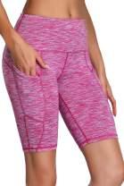 Oalka Women's Yoga Short Side Pockets High Waist Workout Running Shorts Space Dye Camo Pink L