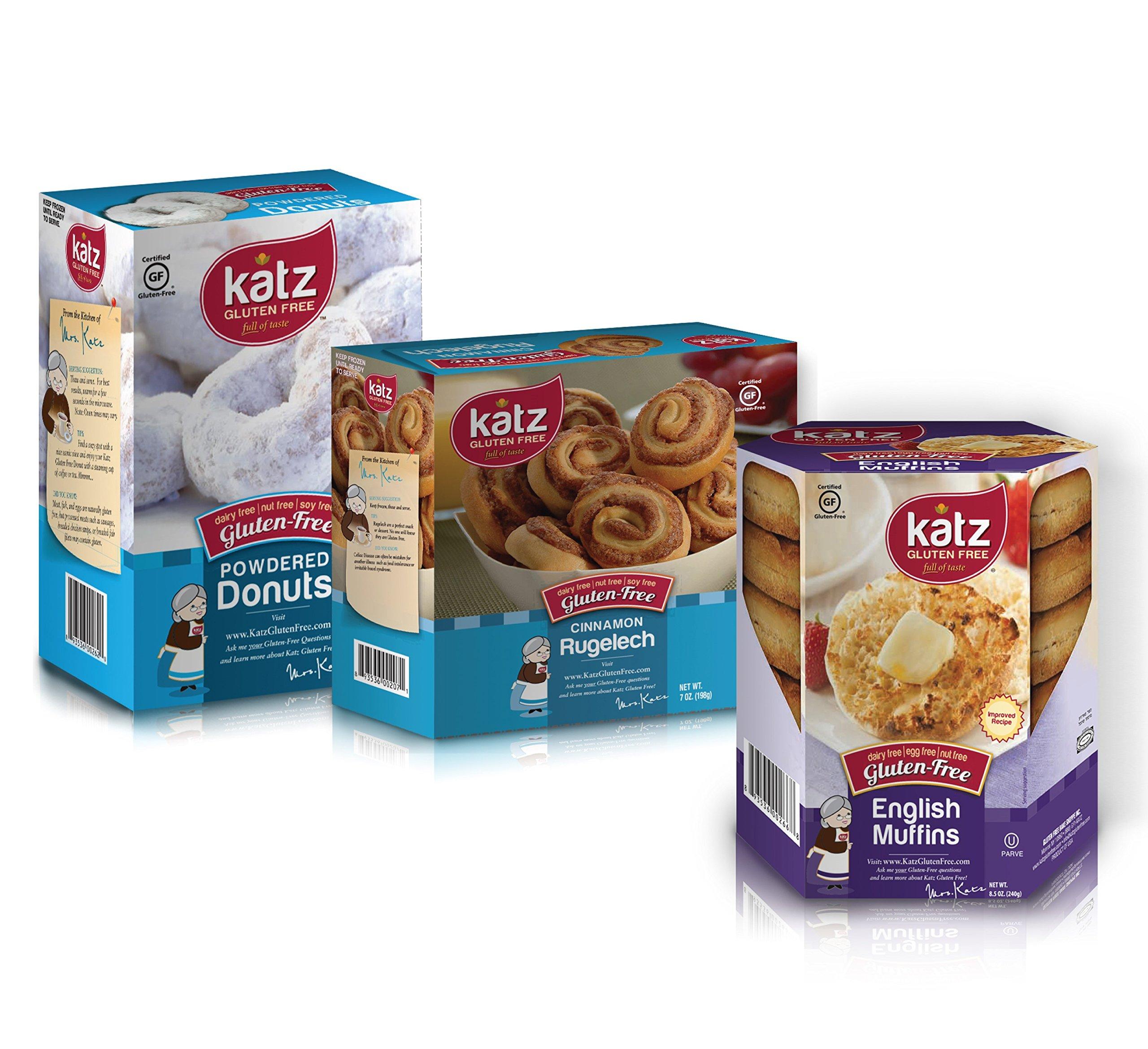 Katz Gluten Free Variety Pack   1 English Muffin, 1 Powdered Donut, 1 Cinnamon Rugelach   Dairy, Nut, Soy and Gluten Free   Kosher (1 Pack of each)