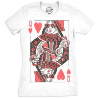 Womens Queen of Hearts T Shirt Funny Vintage Graphic Cool Cute Tee for Ladies