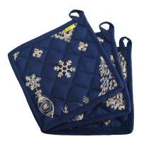 "Set of 3 Pot Holders - Indigo Christmas design, 100% Cotton of Size 8""X8 Inch with high heat resistant polyester filling for Thanks Giving, Christmas & other Holiday Season."
