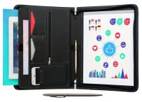 """STYLIO Zippered Portfolio w Premium Pen, Padfolio Binder, Interview Resume Document Organizer. Internal Holders: iPad/Tablet (up to 11""""), Phone & Business Cards. Faux Leather Case. w Notepad (Letter)"""