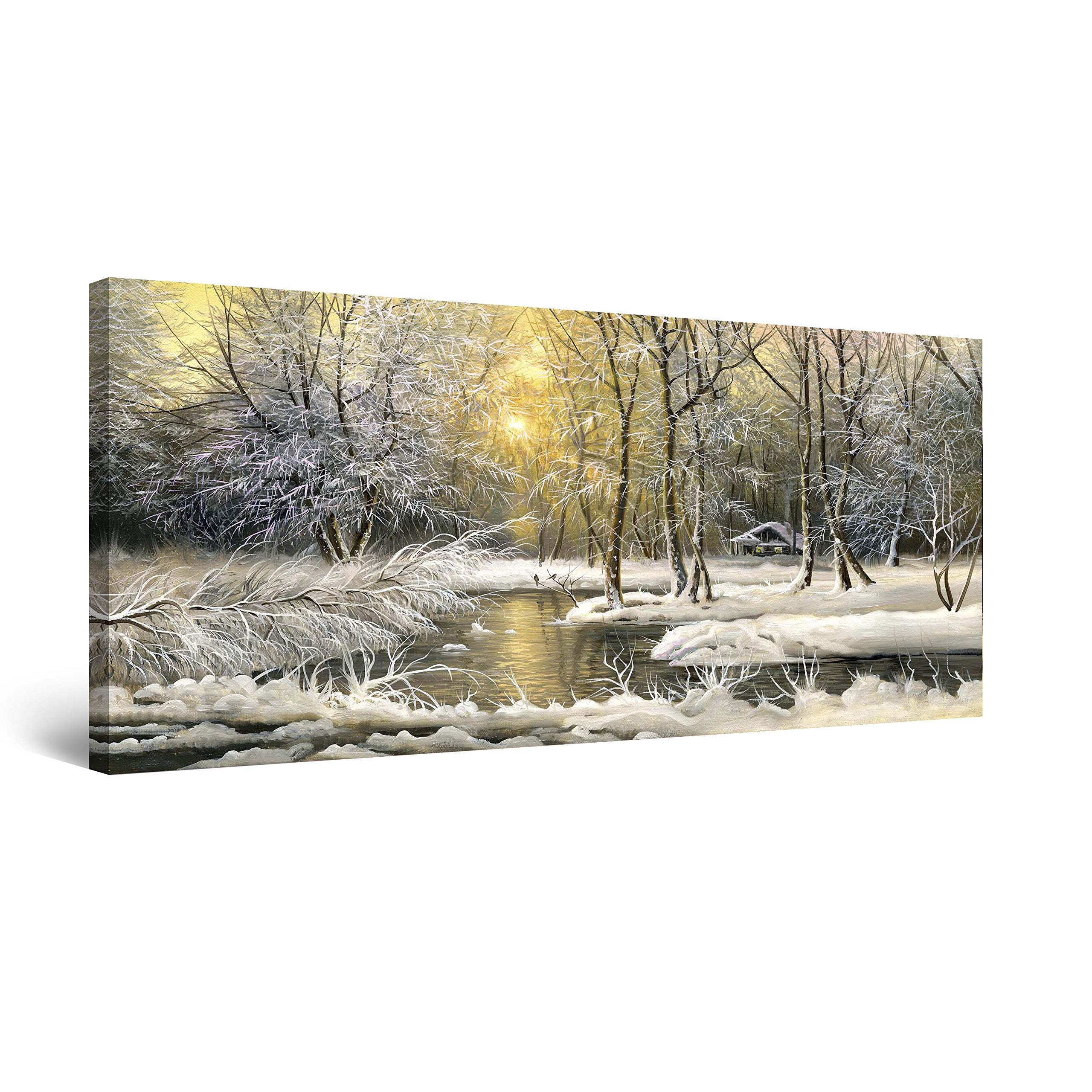 Startonight Canvas Wall Art Winter on The Lake - Landscape Framed 24 x 48 Inches
