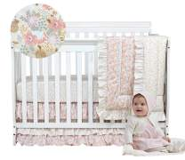 Brandream Blush Pink Crib Bedding Sets for Girls Boho Floral 3 Piece Nursery Bedding 100% Cotton Ruffle Sweet Comforter Blanket with Polka Dot Fitted Sheets, Baby Shower Gift