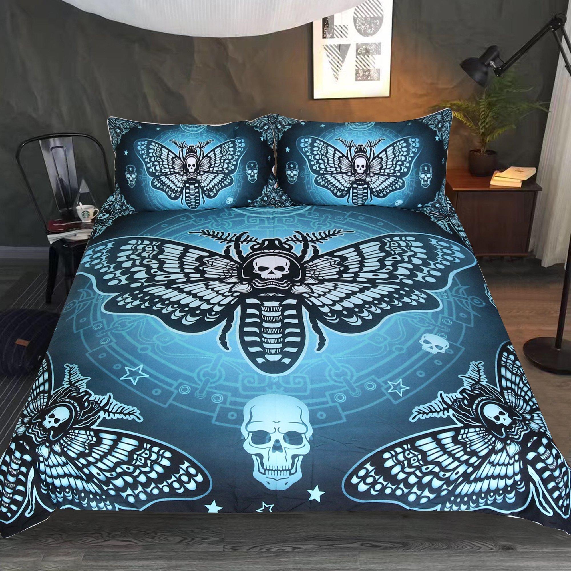 Sleepwish Skull Moth Bedding 3 Piece Dead Moth with Stars Butterfly Skull Duvet Cover Blackish Green Gothic Halloween Bed Set (King)