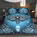 Sleepwish Skull Moth Bedding 3 Piece Dead Moth with Stars Butterfly Skull Duvet Cover Blackish Green Gothic Halloween Bed Set (Queen)