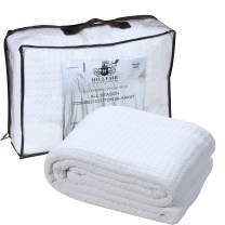 HILLFAIR 100% Soft Premium Combed Cotton Thermal Blanket– Twin Blankets – Soft Cozy Warm Cotton Blanket– Bed Throw Blanket– Twin Bed Blankets– All Season Cotton Blankets–White Twin Cotton Blankets