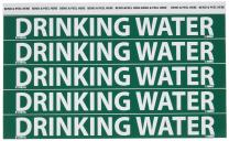 """NMC B1089G Pipemarkers Sign, Legend""""Drinking Water"""", 9"""" Length x 1"""" Height, 3/4"""" Letter Size, Pressure Sensitive Vinyl, White on Green (Pack of 25)"""