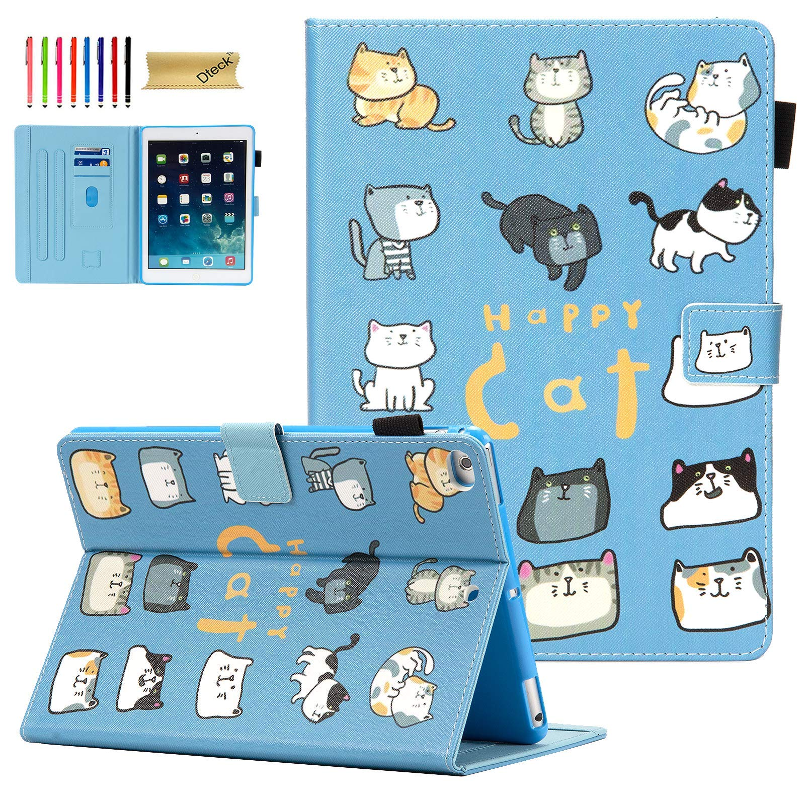 iPad Air 2 Case, iPad 6th Generation Cases, iPad Case 9.7 2018/2017 with Pencil Holder, Dteck Folio Leather Stand Case with Soft Silicone Back Cover for iPad Air/iPad 9.7 inch Tablet, Cartoon Cats