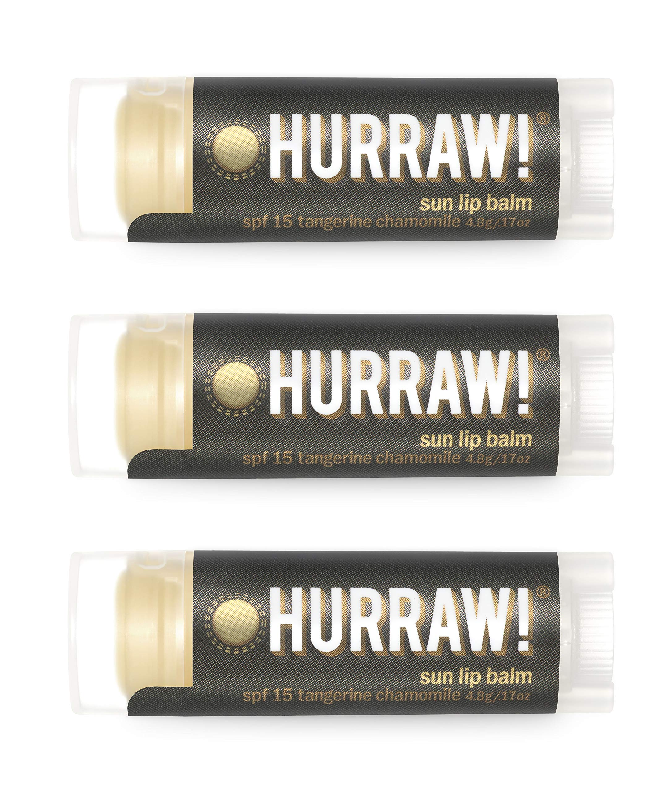 Hurraw Sun Protection (SPF 15, Tangerine, Chamomile) Lip Balm, 3 Pack – Organic, Certified Vegan, Cruelty and Gluten Free. Non-GMO, 100% Natural Ingredients. Bee, Shea, Soy and Palm Free. Made in USA
