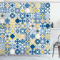 """Ambesonne Yellow and Blue Shower Curtain, Mosaic Portuguese Azulejo Mediterranean Effect, Cloth Fabric Bathroom Decor Set with Hooks, 75"""" Long, Mustard White"""