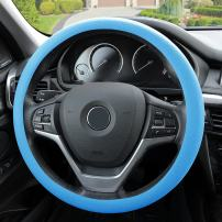 FH Group FH3001LIGHTBLUE Blue Steering Wheel Cover (Silicone Snake Pattern Massaging grip in Light Color-Fit Most Car Truck Suv or Van)