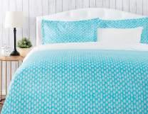 Chanasya Ultra Soft Abstract Print 3-Piece Bedding Duvet Cover Set Queen - Luxurious Brushed Microfiber Comforter Cover - Zipper Closure Reversible Print (1 Duvet Cover & 2 Pillowcases) Aqua