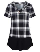 Bebonnie Short Sleeve Shirts for Women, Ladies Tunic Tops V Neck Pullover Blouse Easy Loose Fit Casual Plaid Print Splicing Tee Shirt Daily Wear Grey Black L