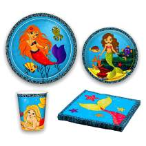 Mermaid Party Supplies - Tableware Set - Includes Mermaid Plates, Cups and Napkins - Serves 24 Guests